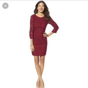 Red lace dress 3/4 sleeve wine Maroon 12 fitted